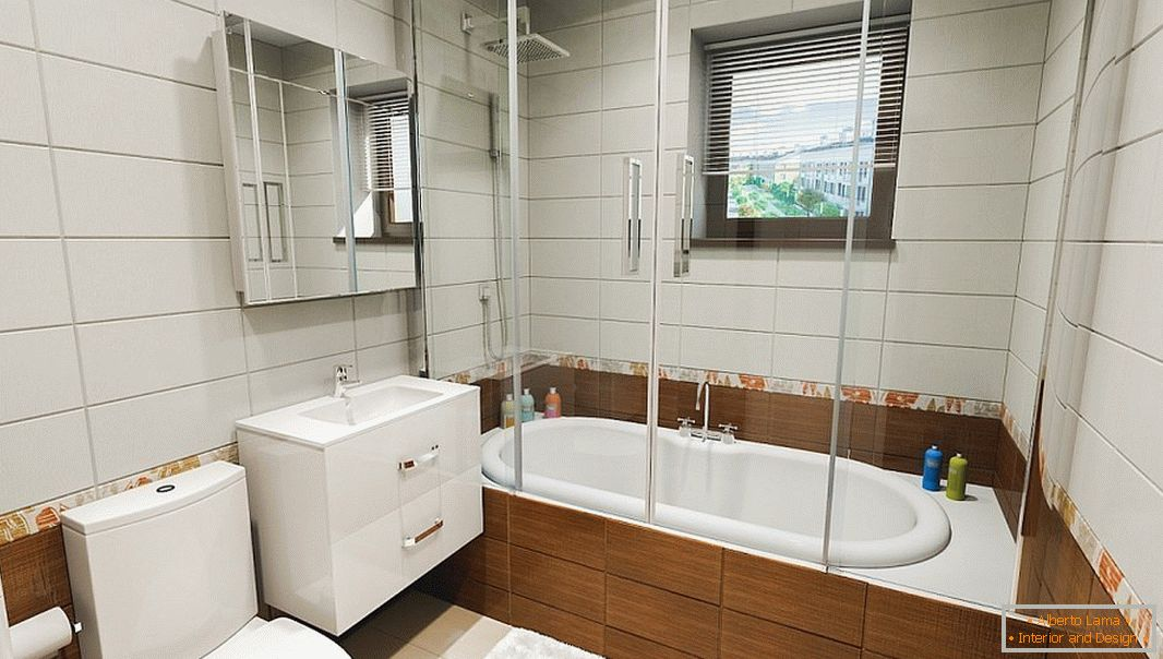 Modern bathroom with a square window
