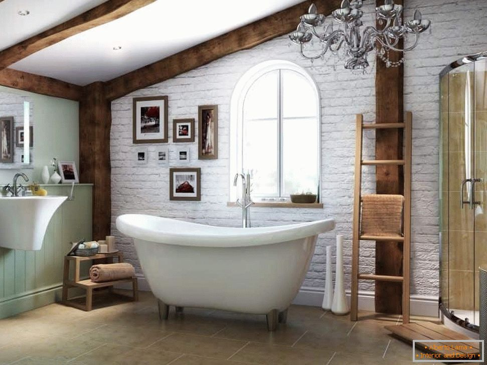 Bathroom with beamed ceilings and white bricks