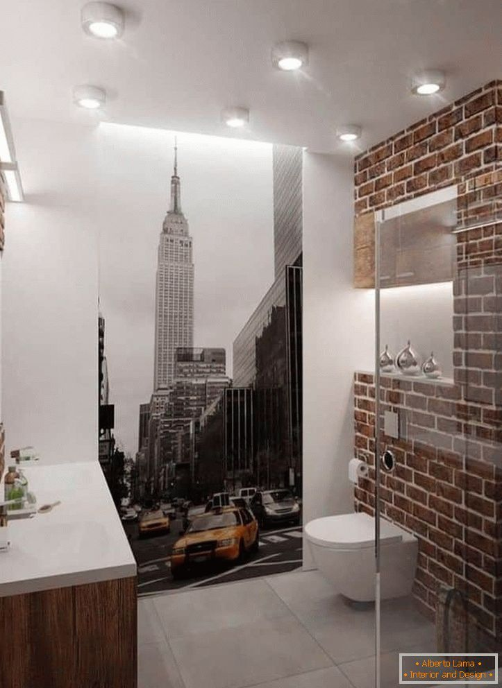 Bathroom with photo wallpapers