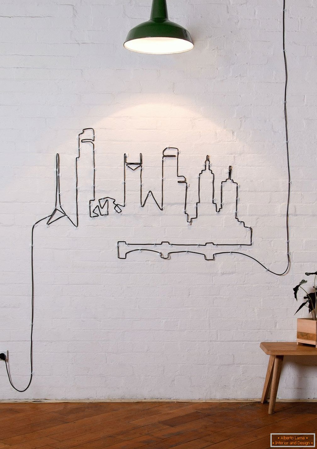 City plot on the wall of a black cable