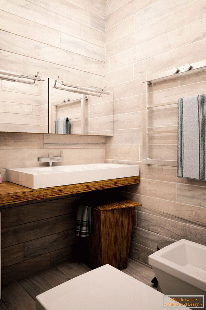 Bathroom white oak finish