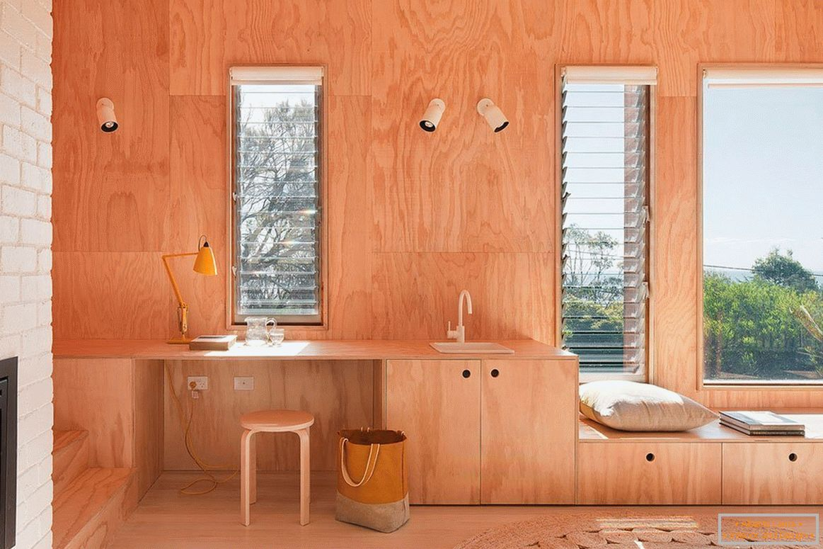 Room with plywood on the walls