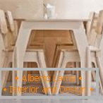 Table and chairs from plywood