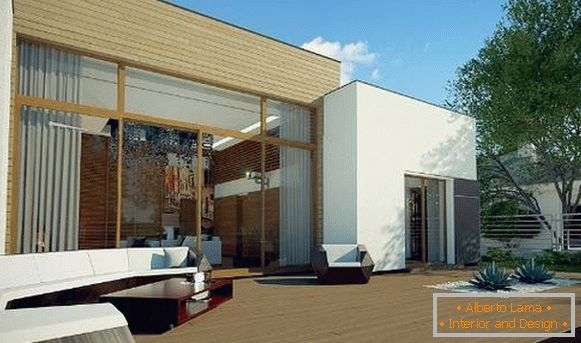 design of the facade of a private single-storey house, photo 44