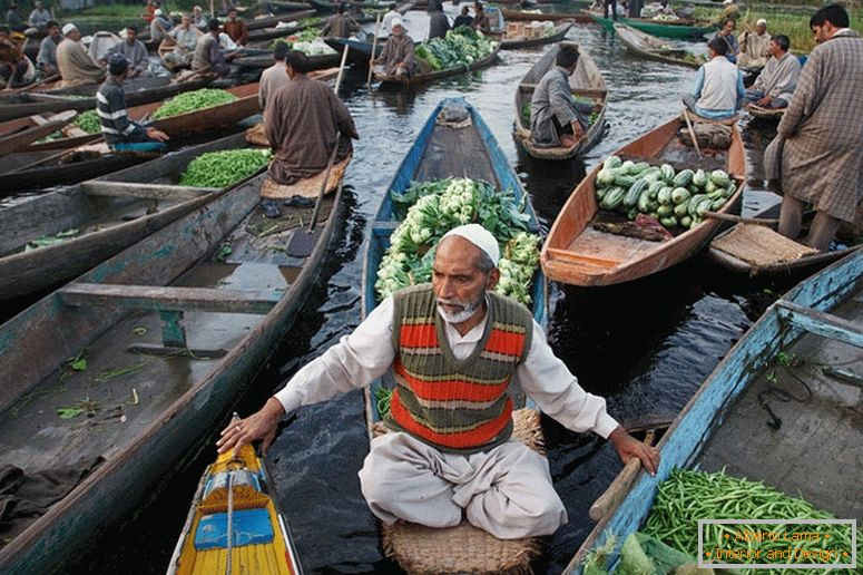 Seller on a boat, India