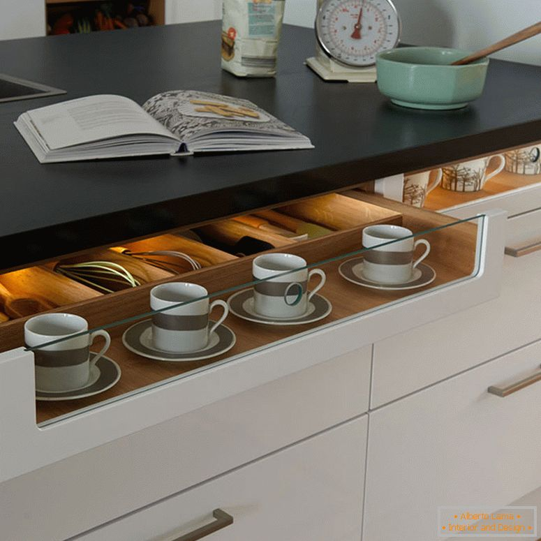 Table with built-in drawers in the small kitchen