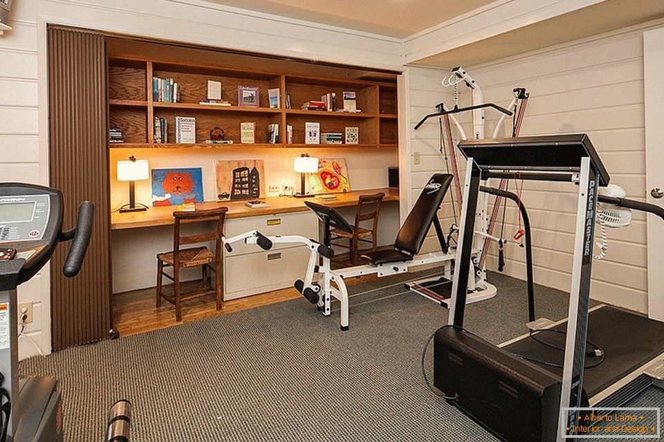 Cabinet and gym in one room