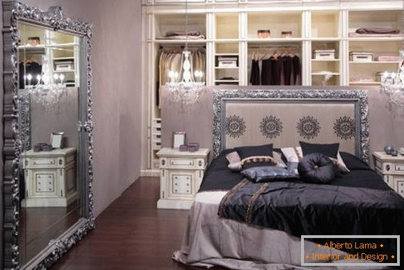 Chic bedroom interior with dressing room