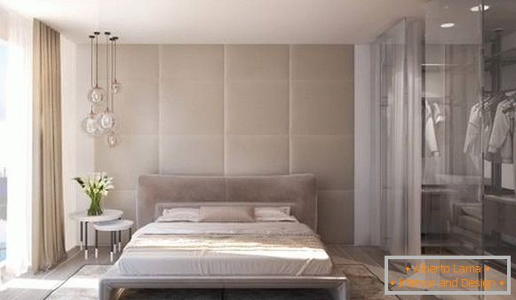 Modern bedroom design with wardrobe - photo