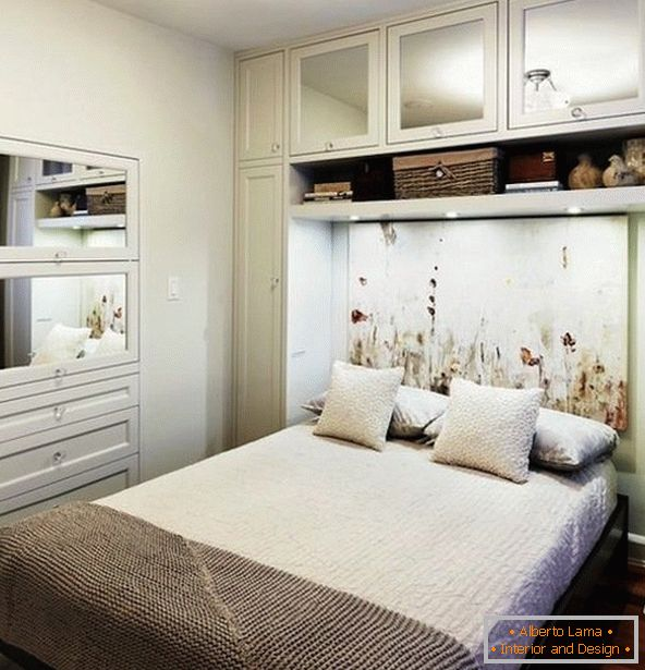 Interior of a small bedroom in white color