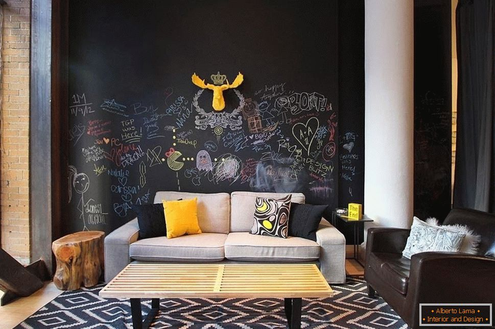 Yellow deer on a black wall