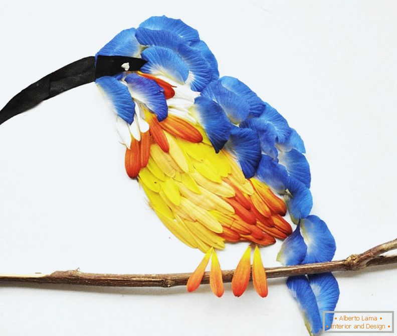 Exotic birds from petals of flowers, project Hong Yi