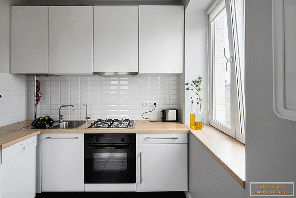 Small kitchen in white color