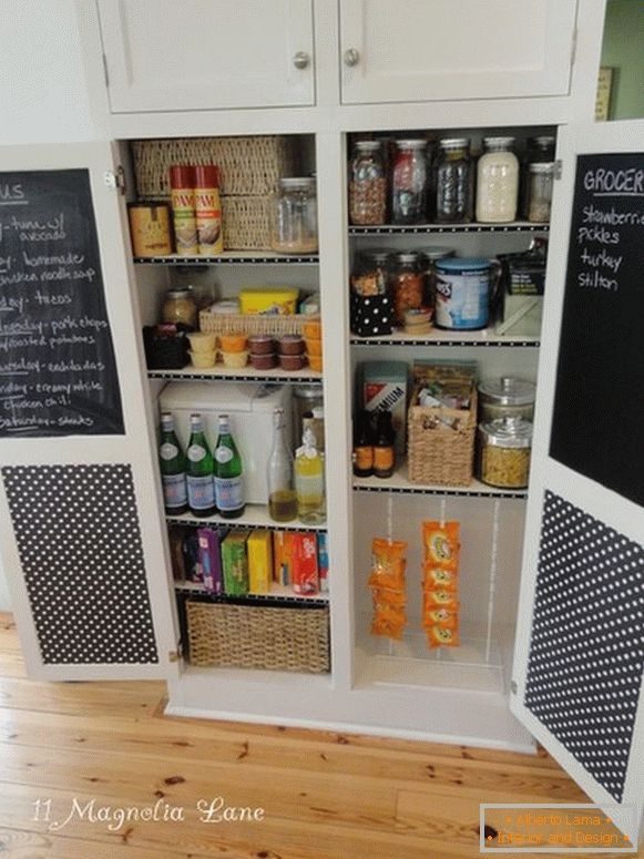 Pantry with chalk planks on the doors