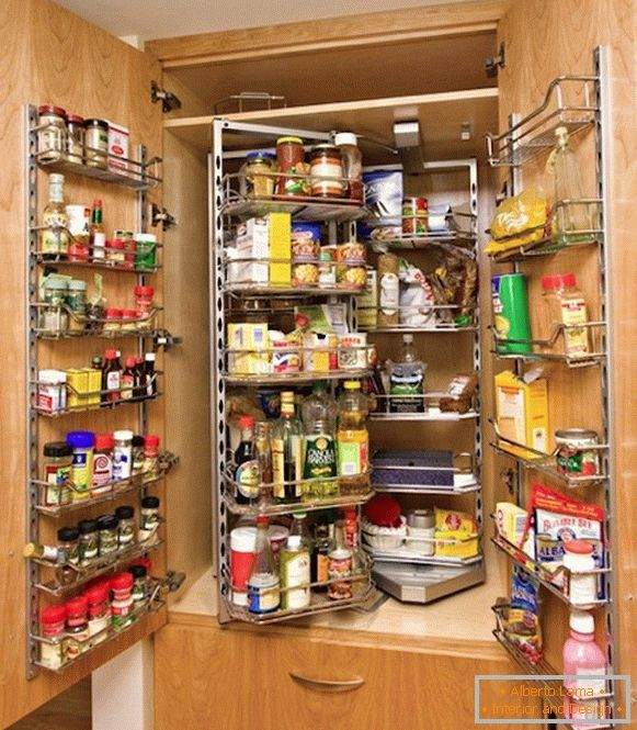 Space for storing spices on the doors