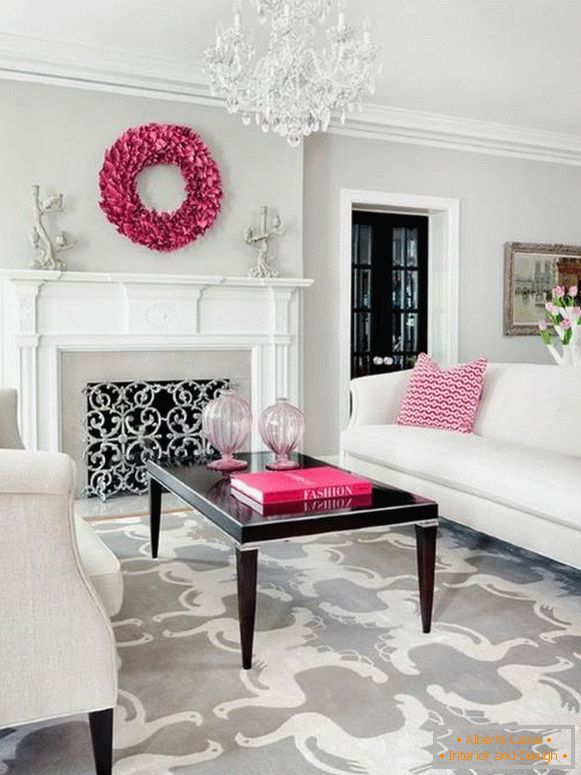 Interior decoration with pink color