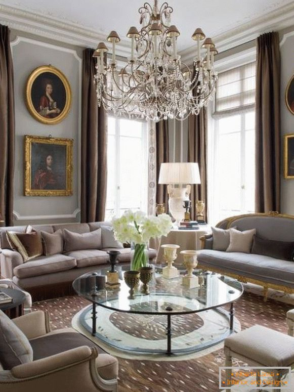 Classic paintings and chandelier as decor