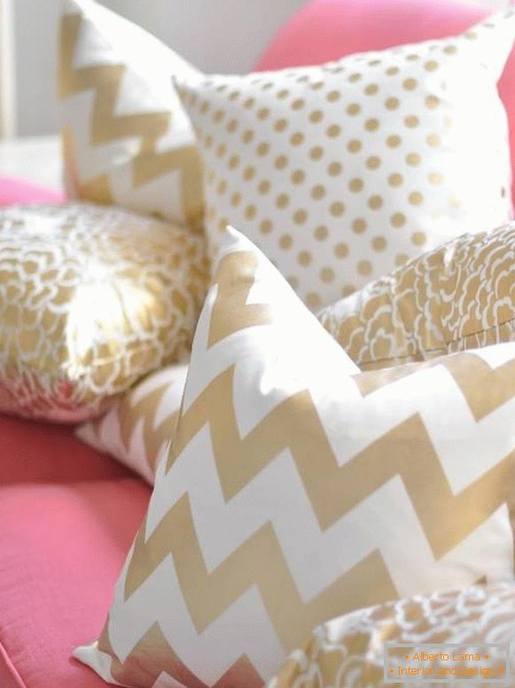 Stylish pillows with classic patterns