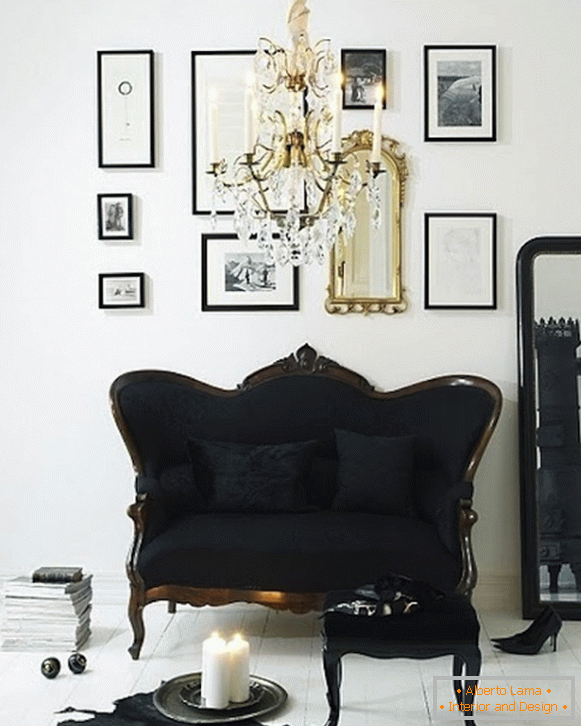 Luxurious black and gold decor in the interior
