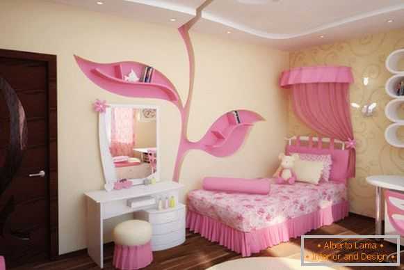 interior of a children's room for a girl in yellow and pink tones