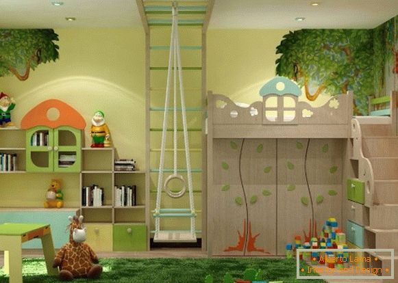 interior with a natural theme of a children's room for a girl of 3 years old
