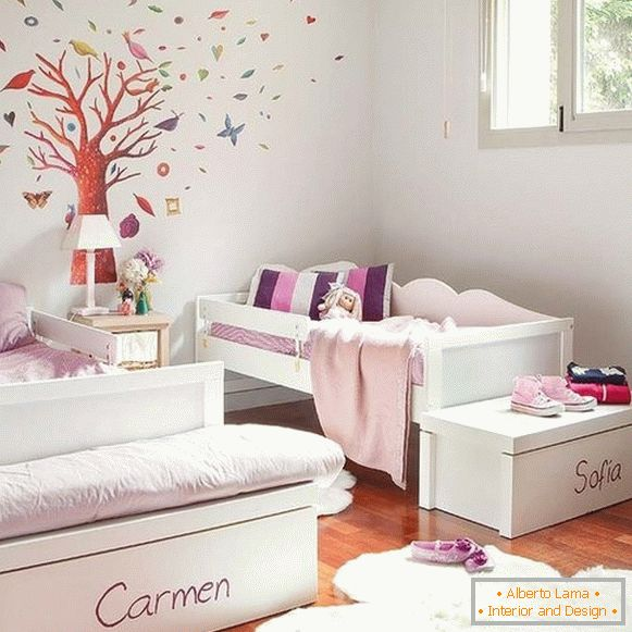 interior of a children's room for 2 girls photo