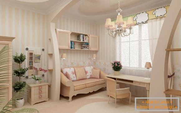 interior with wallpaper for children's room for girls