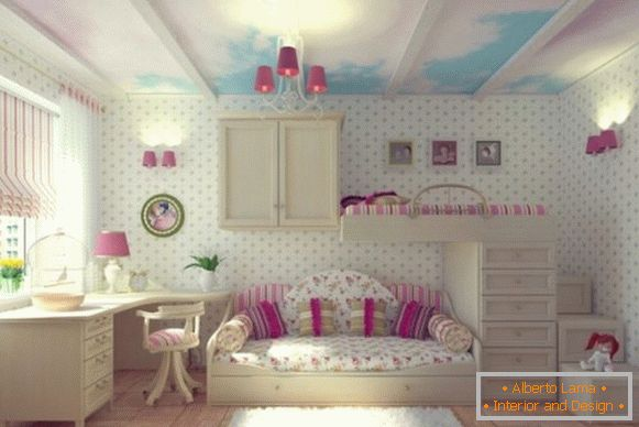 interior with white wallpaper for a children's room for girls