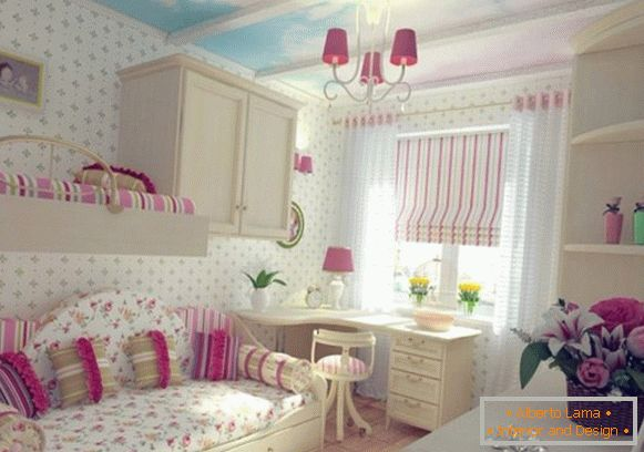 interior with white wallpaper and blue sky for a children's room for two girls
