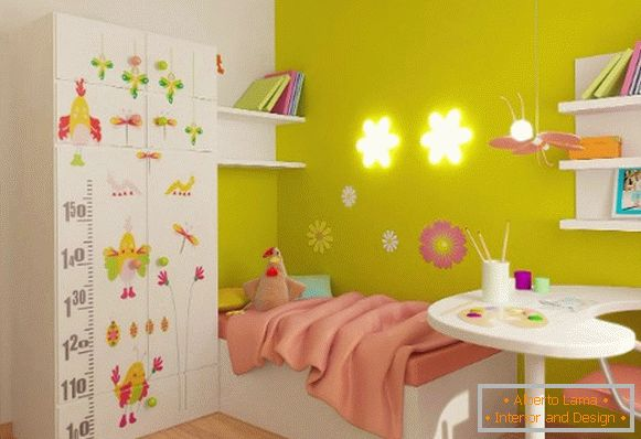 interior of a small children's room for a girl