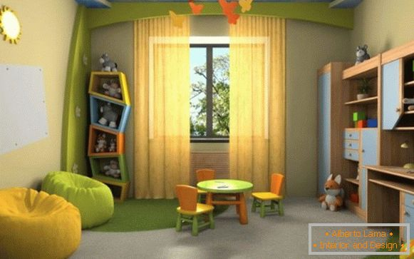 interior of a children's room in natural colors for a girl