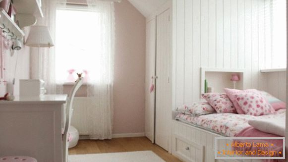 interior of a children's room in the style of Provence for a girl 10