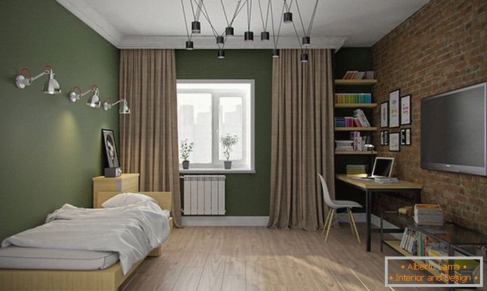 The room for the boy-teenager is designed in the loft style. The stylish interior is notable for its
