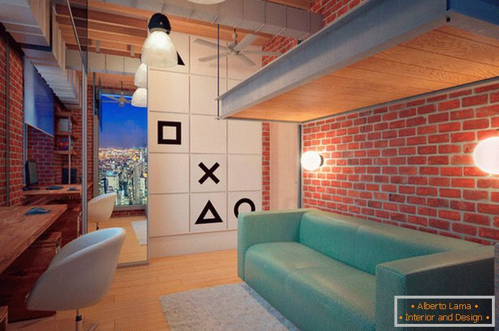 Children's room in the loft style for a teenager is brightly decorated. Brick masonry, open communications, specific lighting - everything that is necessary for the organization of loft interior.