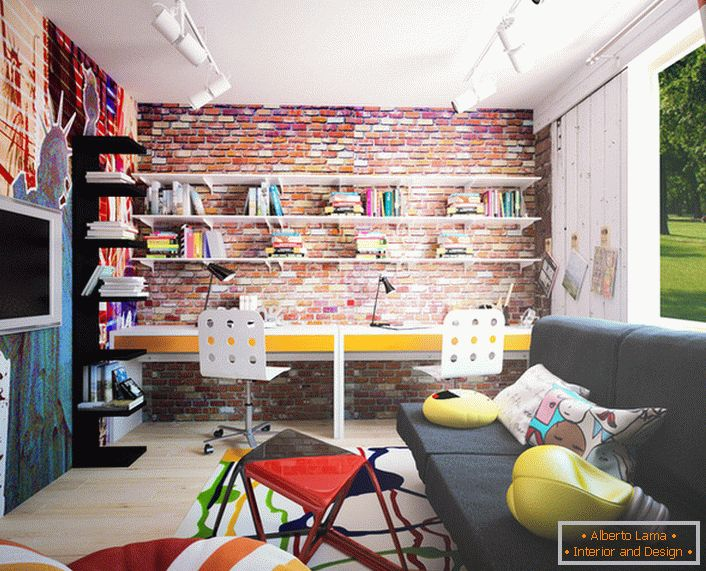 A creative child will appreciate the design of the room in loft style. Bright accents, colorful decorative details, competent lighting indicates the presence of loft style.