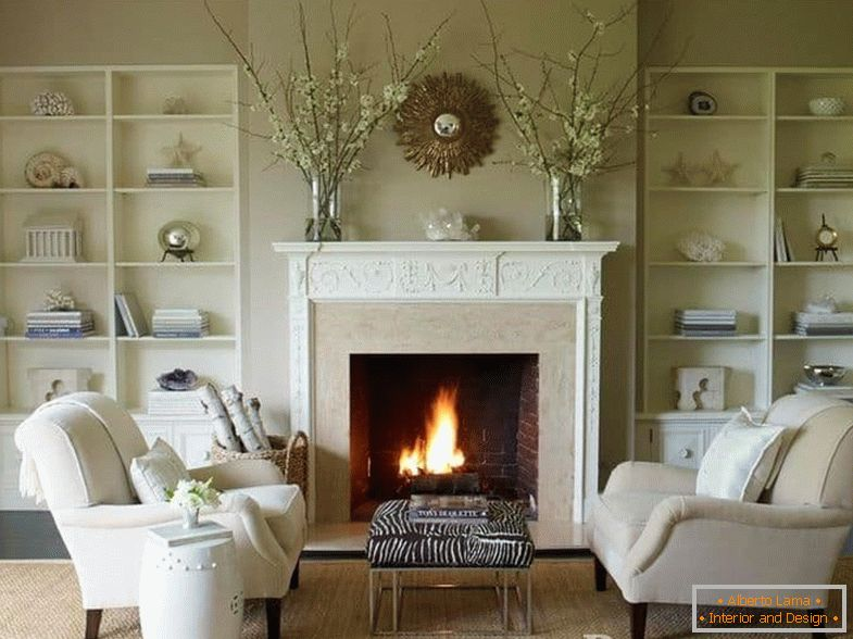 Design of a living room with a fireplace in the house