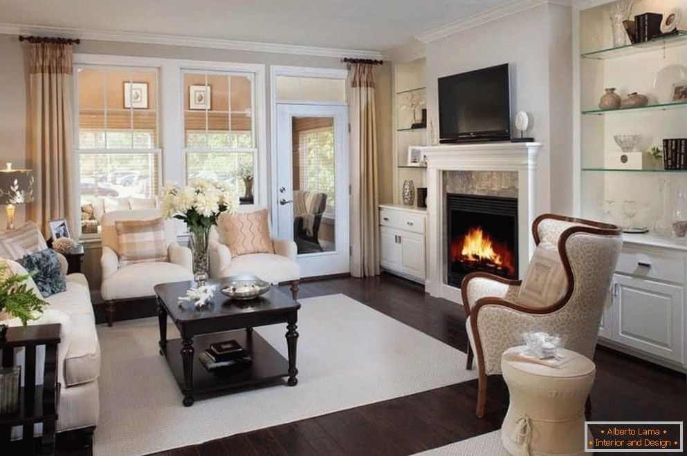 Bright living room with fireplace in the house