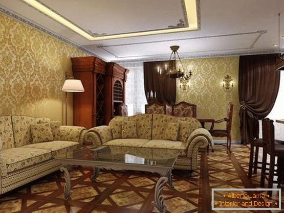 Interior design of the living room in a private house in a classical style - photo selection
