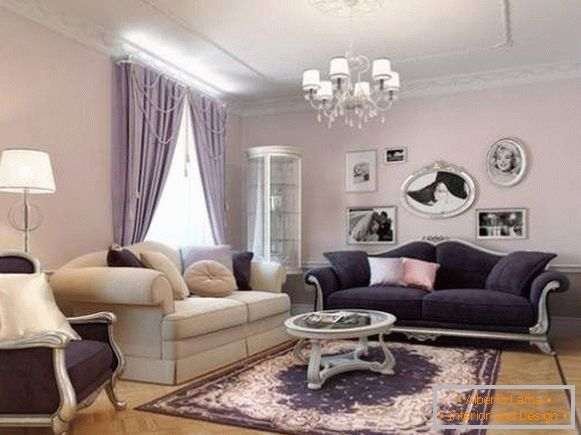 The interior of the classic living room in a private house в сиреневых тонах