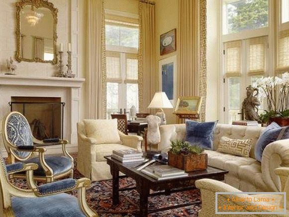 Luxurious interior of a living room in a private house in the style of a classic
