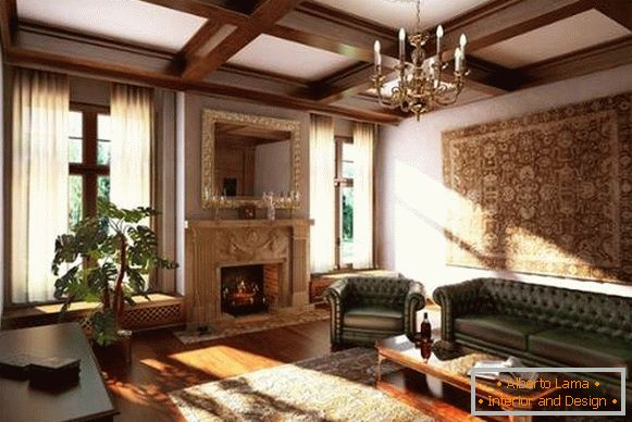 Interior of the living room with a fireplace in a private house - classic style