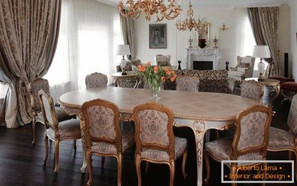 Interior of the dining room in a private house in a classic style