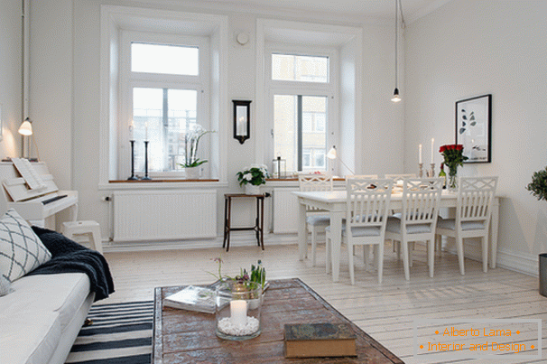 Living room and dining room apartments in Scandinavian style in Gothenburg