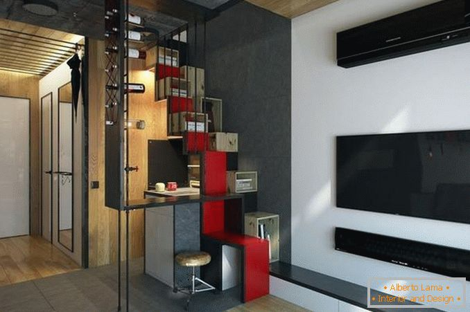 interior of a one-room apartment 18 square meters photo, photo 14
