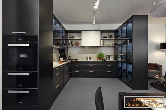 High-tech style - photo of kitchen with living room