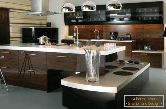 Kitchen design in high-tech style in dark colors