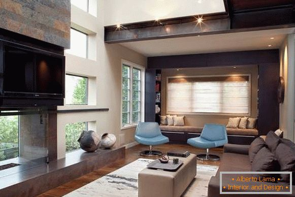 Living room with high ceilings in high tech style