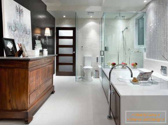 Interior in high-tech style - photo of bathroom and toilet