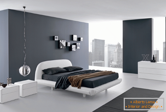 Black and white bedroom in high-tech style