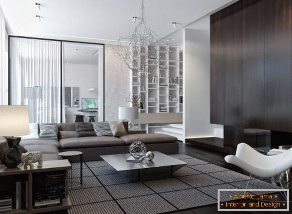 Design room and chandelier in high-tech style